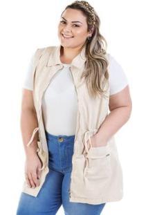 Colete Feminino Jeans Parka Com Zíper Plus Size - Feminino-Bege