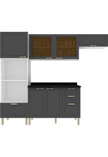 Cozinha Modulada 5 Peças Com Tampo E Nevada 5670Vdtp-Multimóveis - Branco Premium / Grafite Premium