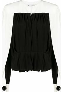 Givenchy Blusa Bicolor Com Pregas De Seda - Preto