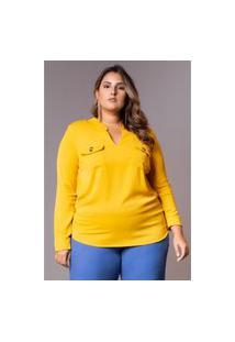 Roupas Plus Size Domenica Solazzo Blusas Amarelo
