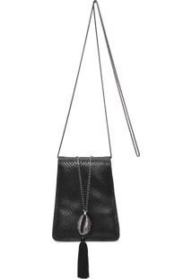 Bolsa Feminina Clutch Leather Búzios - Preto