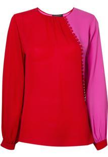 Blusa Le Lis Blanc Botões Donata Seda Vermelho Feminina (Paprica/Super Pink, 46)