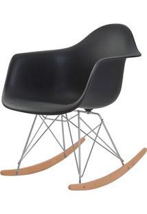 Cadeira Eames Eiffel Com Braco Polipropileno Cor Preto Base Balanco - 44926 Sun House