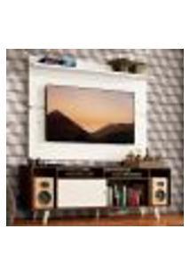 Rack Madesa Cancun Com Pés E Painel Para Tv Até 65 Polegadas - Rustic/Branco 6E09