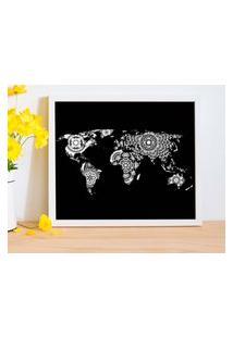 Quadro Decorativo Com Moldura World Map Mandalas Branco - 20X30Cm