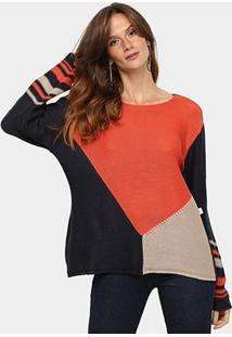 Blusa Mercatto Colorblock Listras Feminina - Feminino-Preto+Laranja