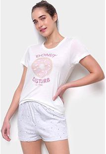 Pijama Curto Hering Short-Doll Dunut Feminino - Feminino-Off White