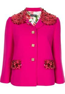 Dolce & Gabbana Blazer Com Aplicações De Paetê - Rosa