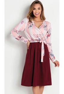 Vestido Listras Rosa Com Faixa Moda Evangélica