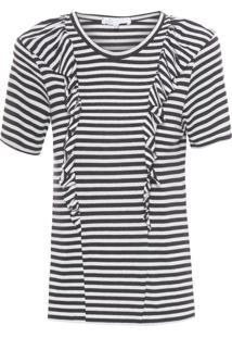 Camiseta Feminina Stripe Jersey John - Preto E Branco