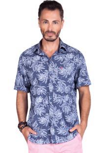 Camisa Olimpo Camisaria Malha Jacquard Com Bolso Manga Curta Azul