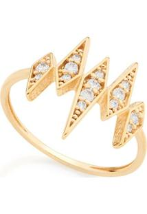Anel Skinny Ring Losangos Com Zircônias Rommanel - Feminino-Dourado