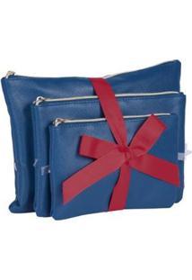 Kit Com 3 Necessaires Sestini - Unissex-Azul