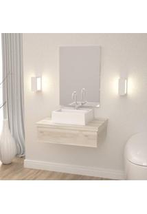 Conjunto Para Banheiro Gabinete Com Cuba Q32 E Espelheira 601W Metrópole Compace Snow