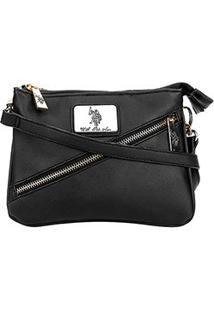 Bolsa U.S. Polo Assn Mini Bag Zíper Diagonal Feminina - Feminino-Preto