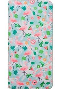 Carteira Glamour Com Flamingo E Melancia Água Feminina - Feminino-Verde