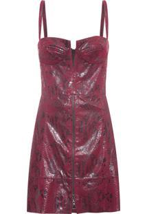Vestido Decote V Zíper Snake - Vermelho