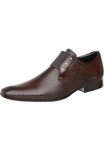 Sapato Masculino Malbork Em Couro Com Elástico Marrom 517 Café