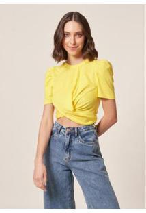 Camiseta Mob Malha Transpasse Summer Feminina - Feminino-Amarelo
