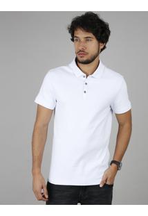 Polo Masculina Slim Fit Texturizada Manga Curta Branca