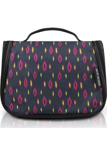 Nécessaire De Viagem Abstrata- Preta & Pink- 22X17X1Jacki Design