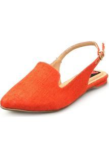 Sapatilha Love Shoes Bico Fino Slingback Juta Laranja