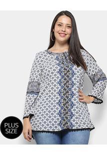 Blusa Fiya Manga Longa Estampada Plus Size Feminina - Feminino-Bege+Azul