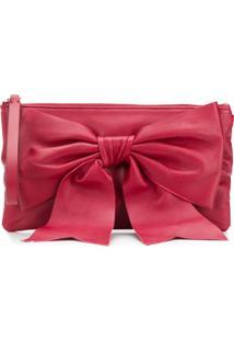 Red Valentino Bolsa Clutch De Couro Com Laço - Vermelho