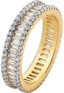 Anel Cristais Bagueti Multi Cravejado Mini Zircônias Banhado A Ouro 18K La Madame Co