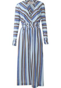 Vestido Calvin Klein Midi Listrado Azul/Laranja