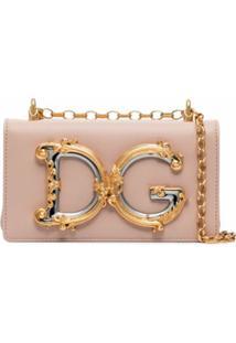 Dolce & Gabbana Bolsa Tiracolo Girls De Couro Com Logo - Rosa