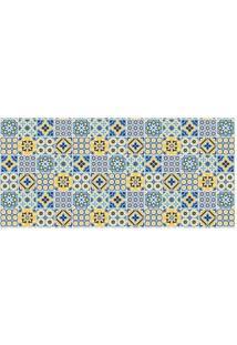 Tapete Transfer Azulejos- Azul & Amarelo- 90X40Cm
