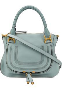 Chloé Marcie Leather Tote - Azul