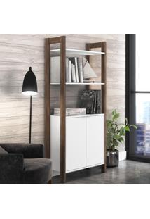 Estante Para Livros 2 Portas 65 Cm Az1009 Branco/Nogal - Tecno Mobili