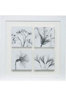 Quadro Relevo Floral 35X35 Cm Branco Kapos