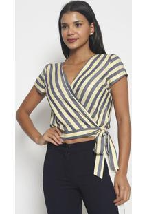 Blusa Listrada Com Amarraã§Ã£O- Amarela & Azul Escuro-Vip Reserva