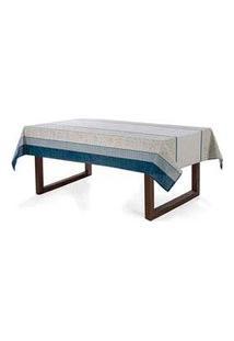 Toalha De Mesa Retangular Ariana 1400X2100 Mm Cinza E Azul - Karsten