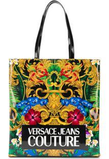 Versace Jeans Couture Bolsa Tote Com Estampa Floral - Preto