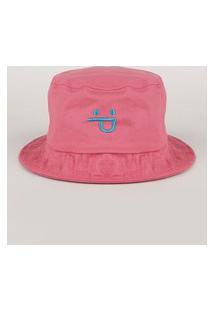 Chapéu De Sarja Masculino Bucket Com Bordado Rosa