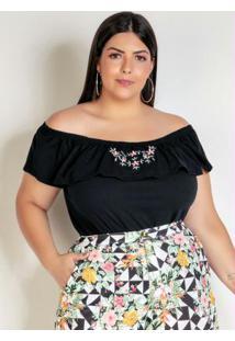 Blusa Ciganinha Preta Com Bordado Plus Size