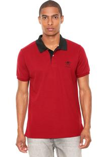 Camisa Polo Monte Carlo Polo Club Bicolor Vermelha/Preta