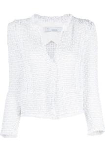 Iro Jaqueta Cropped De Tweed - Sil09 Silver White