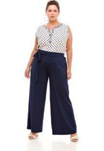 79474a18744094 Zattini - Pantalona Melinde Plus Calça Lisa Size Feminino-Marinho Feminina