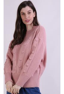 Suéter De Tricô Feminino Mindset Amplo Com Bolinhas Decote Redondo Rosê