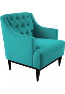 Poltrona Decorativa Clã¡Ssica Capiton㪠Suede Azul Tiffany - Ds Mã³Veis - Azul - Dafiti