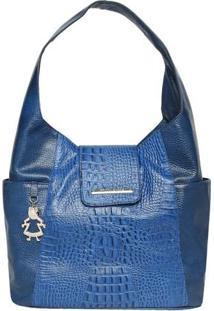 Bolsa Em Couro Com Textura Croco- Azul Escuro- 28X34Di Marlys