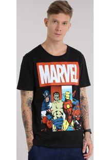 """Camiseta """"Marvel"""" Preta"""