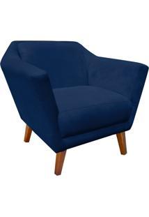 Poltrona Decorativa Lorena Suede Azul Marinho - D'Rossi