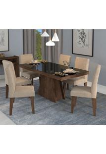 Conjunto De Mesa Olivia Para Sala De Jantar Com 6 Cadeiras Milena-Cimol - Marrocos / Sued Bege