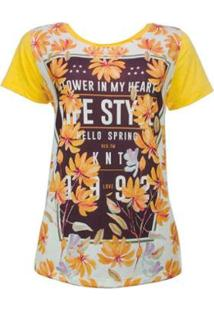 Camiseta Knt Estampada - Feminino-Amarelo